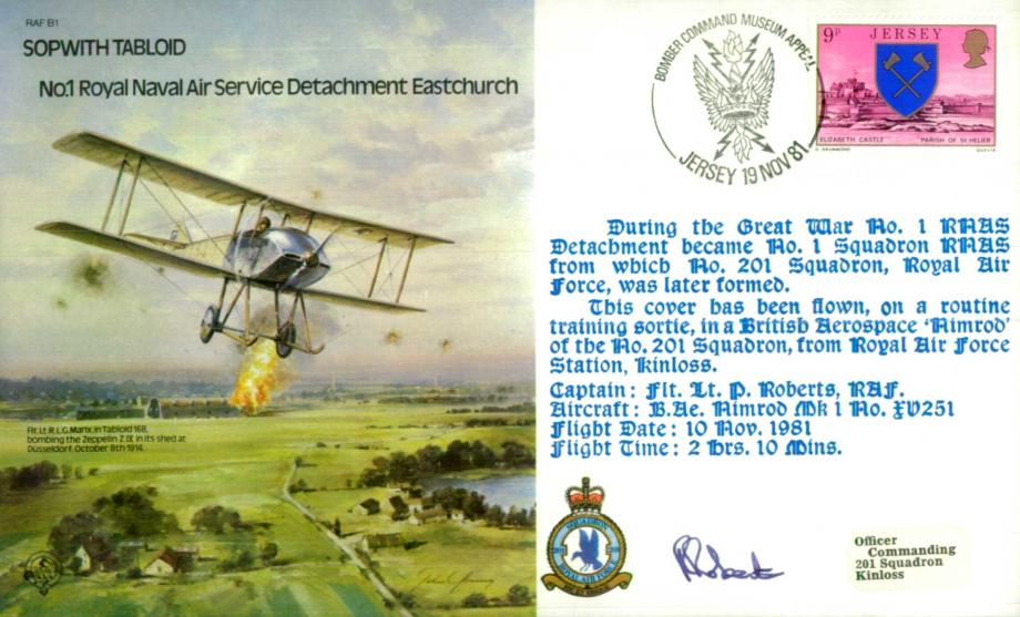 Sopwith Tabloid RNAS Detachment cover Signed P Roberts