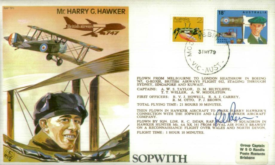 Harry Hawker Test Pilot cover Sgd pilot R C Dean