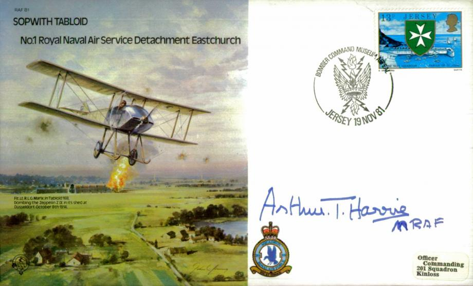 Sopwith Tabloid RNAS Detachment cover Signed MRAF Harris