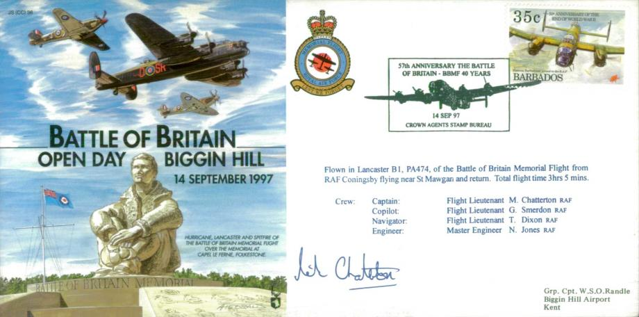 Battle of Britain Cover Signed M Chatterton