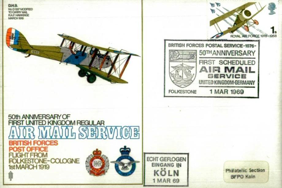 50th Ann First Air Mail 1919 cover