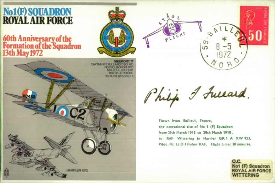 No1(F) Squadron cover Signed by P J Fullard RFC who downed 47 enemy aircraft in WW1