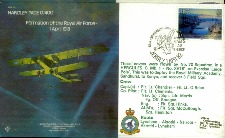 Handley Page Formation of the RAF cover Flown 70 Squadron