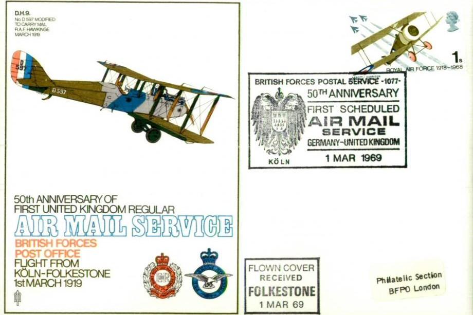50th Ann of First Air mail cover 1919