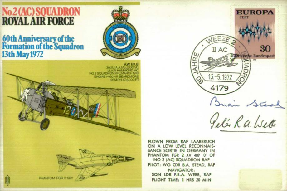 No 2 (AC) Squadron cover Signed by crew B A Stead and P R A Webb