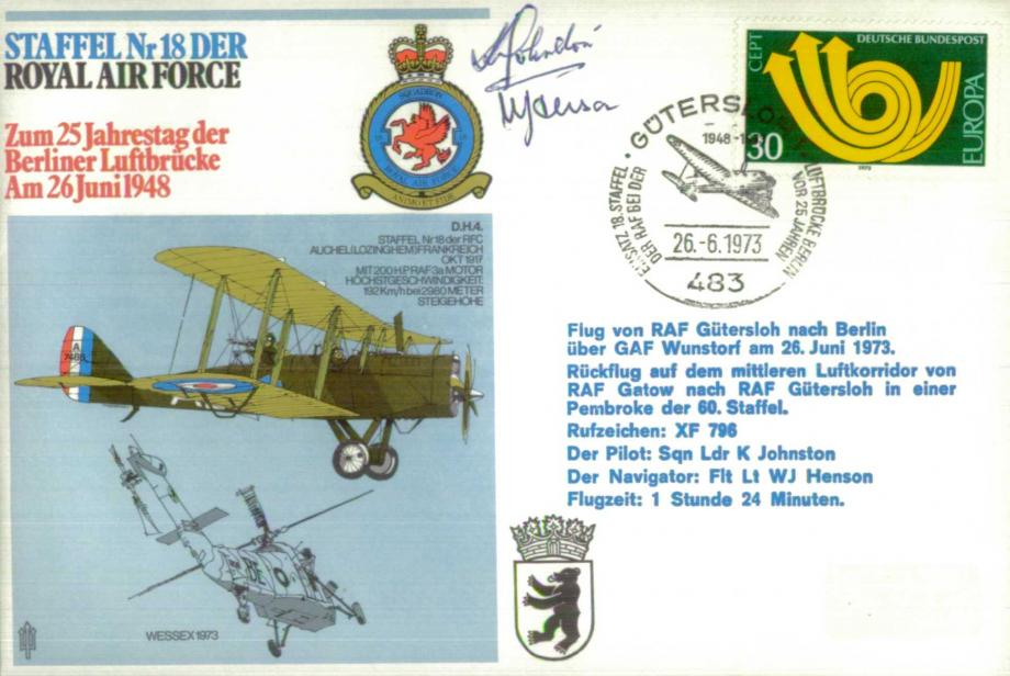 Staffel Nr 18 DER cover Signed by the pilot K Johnston and navigator W J Henson