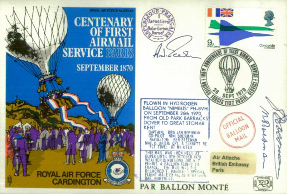 First Airmail Service to Paris cover Sgd crew