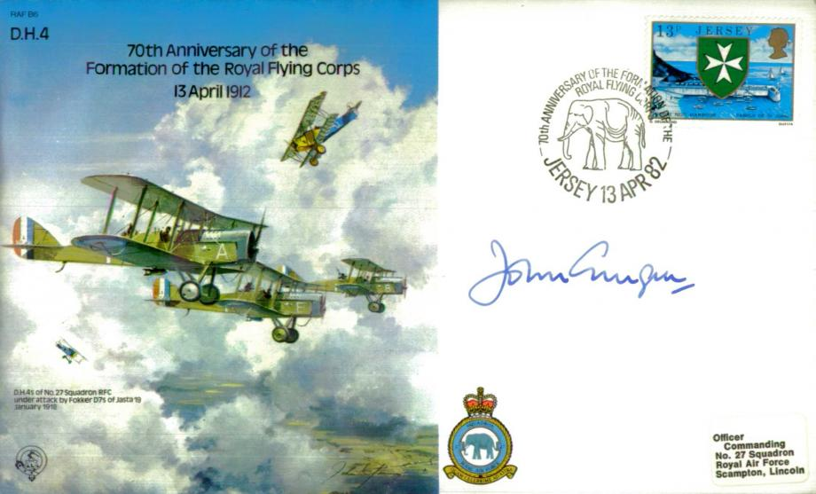 70th Anniversary of the Royal Flying Corps cover Signed Gingell