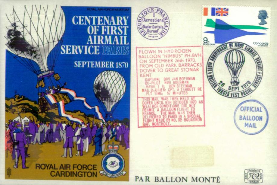 First Airmail Service to Paris cover