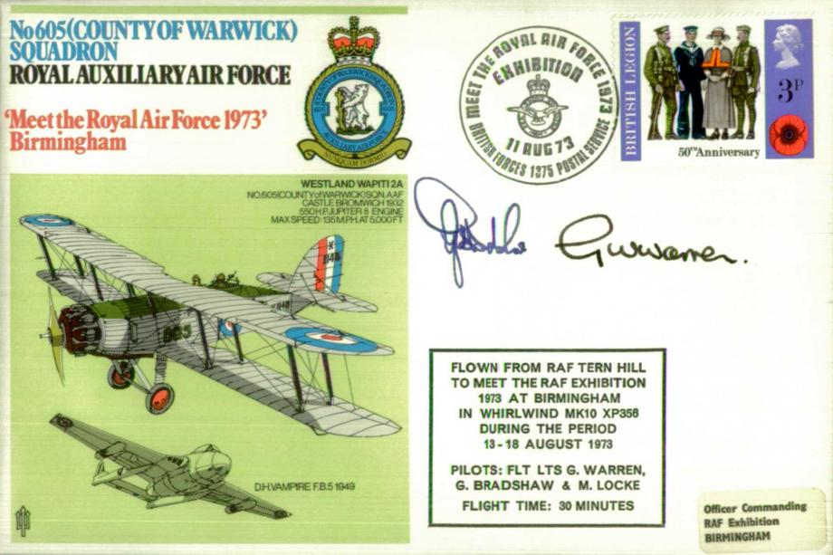 No 605(County of Warwick) Squadron cover Signed by 2 pilots G Bradshaw and G Warren