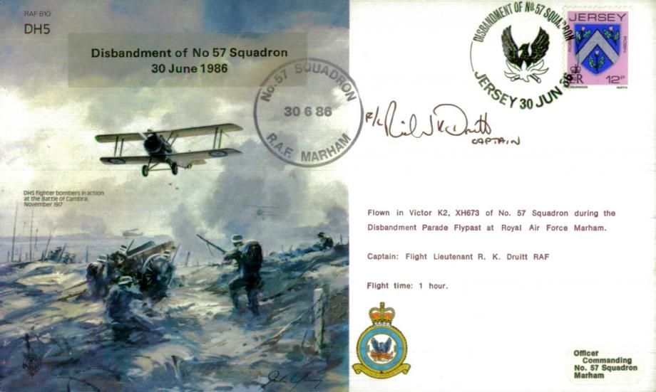 DH5 Disbandment of 57 Squadron cover Signed R K Druitt
