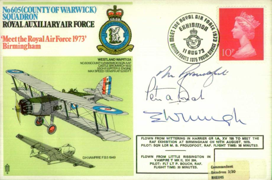 No 601(County of Warwick) Squadron cover Sgd by pilots and AC Wright a BoB pilot with 605 Squadron