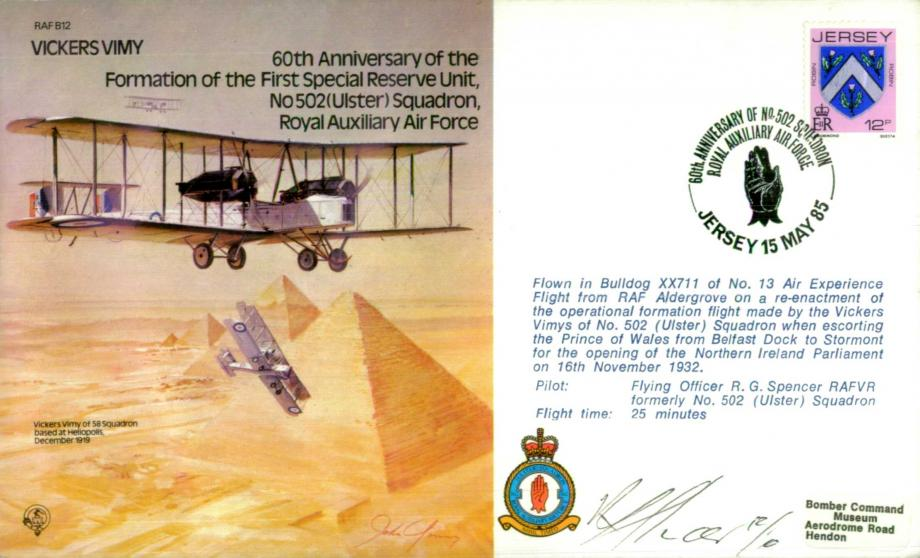 Vickers Vimy 60th Anniversary of 502 Squadron cover Signed