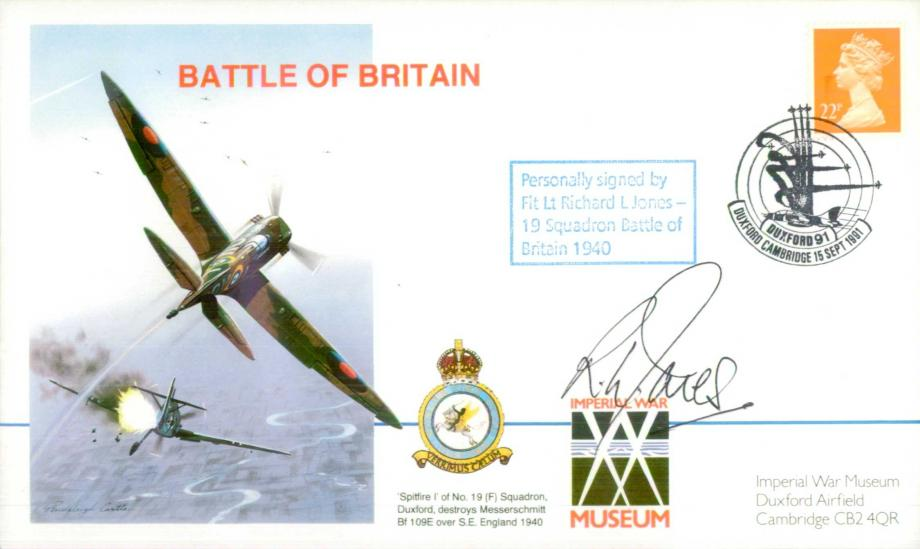 Battle of Britain Cover Signed R L Jones A BoB Pilot