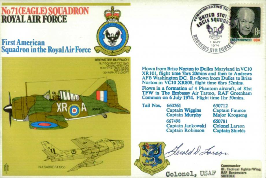 No 71(Eagle) Squadron cover Signed by Col Jerold Larson USAF