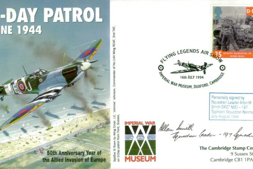 D Day cover Sgd A H Smith of 197 Sq