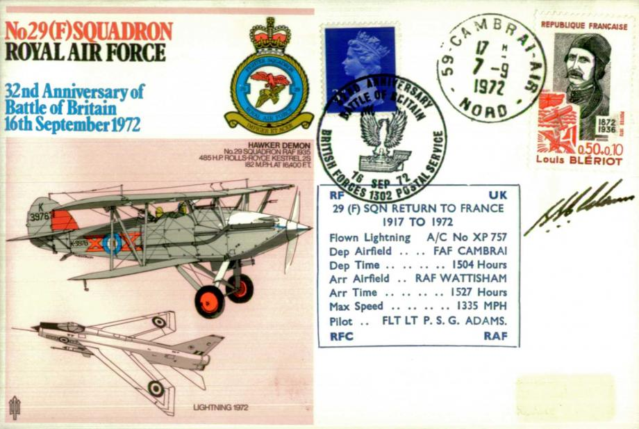 No 29 Squadron cover Pilot signed by P S G Adams