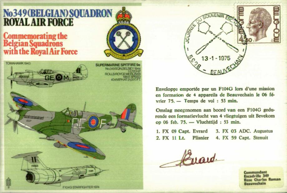No 349 (Belgian) Squadron cover Pilot signed by Cap Evrad
