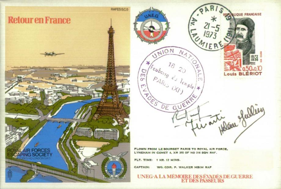 Retour en France cover Sgd Mme Helene Julien Rene Picard and Jean Marti of 345 and 347 Sqs