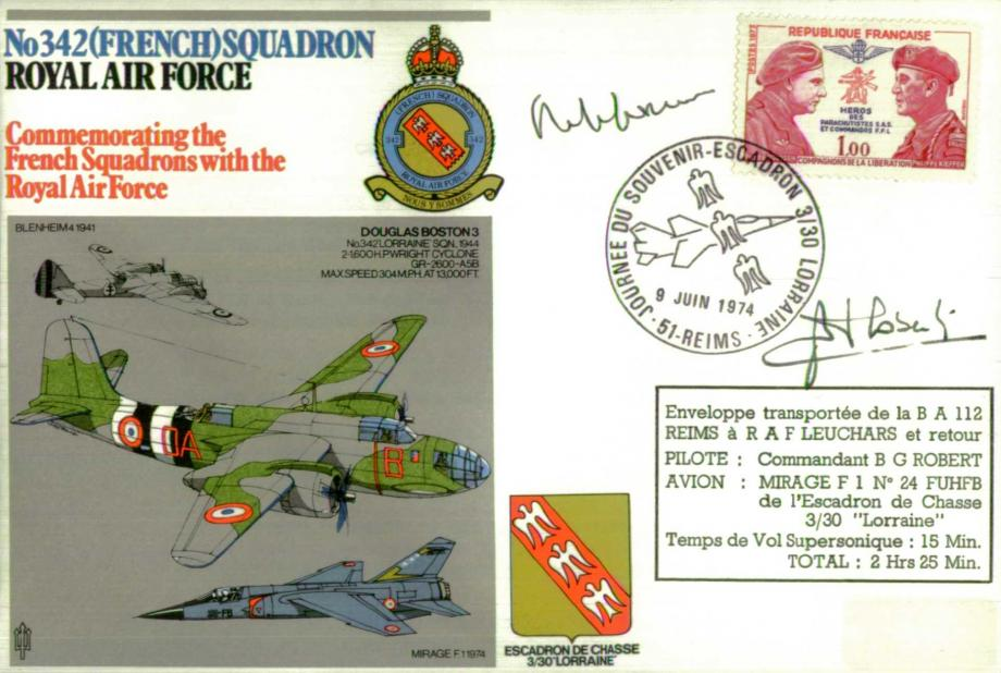 No 342(French) Squadron cover Pilot signed by Cdt B G Robert and Monsieur P Mendes-France