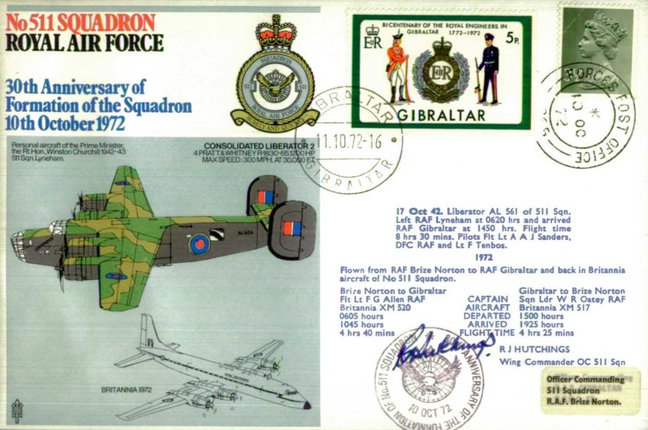 No 511 Squadron cover Signed by WC R J Hutchings - OC 511 Squadron