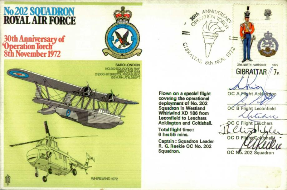 No 202 Squadron cover Signed by crew including OC 202 Squadron Sq L R.G Reekie