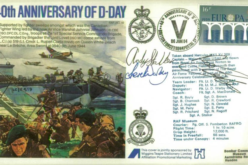 D Day cover Crew signed