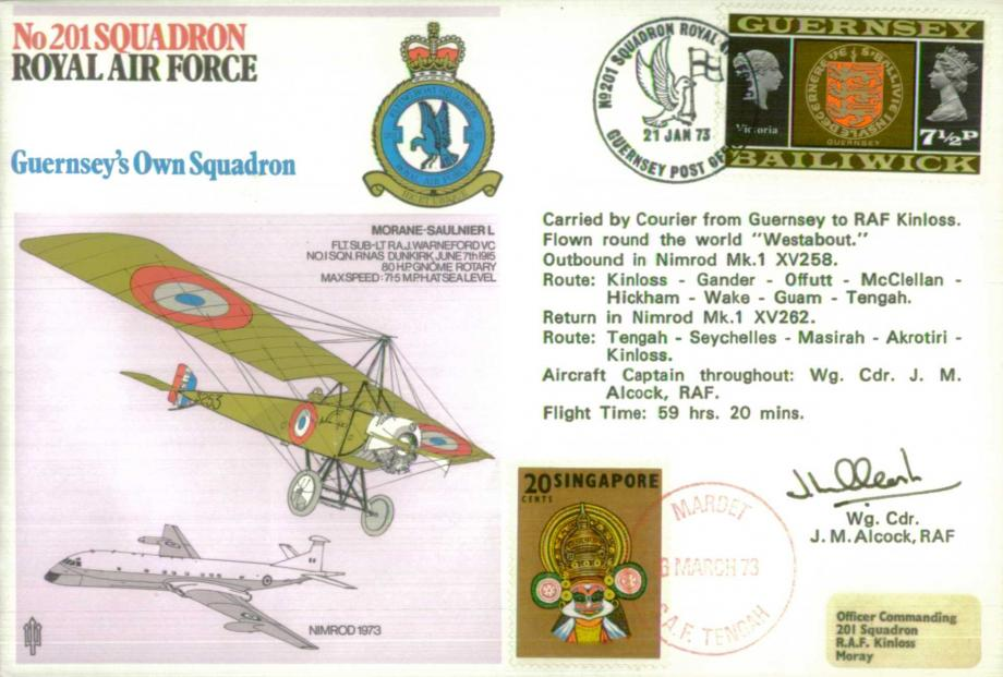 No 201 Squadron cover Signed by pilot WC J M Alcock and 11 crew members on reverse