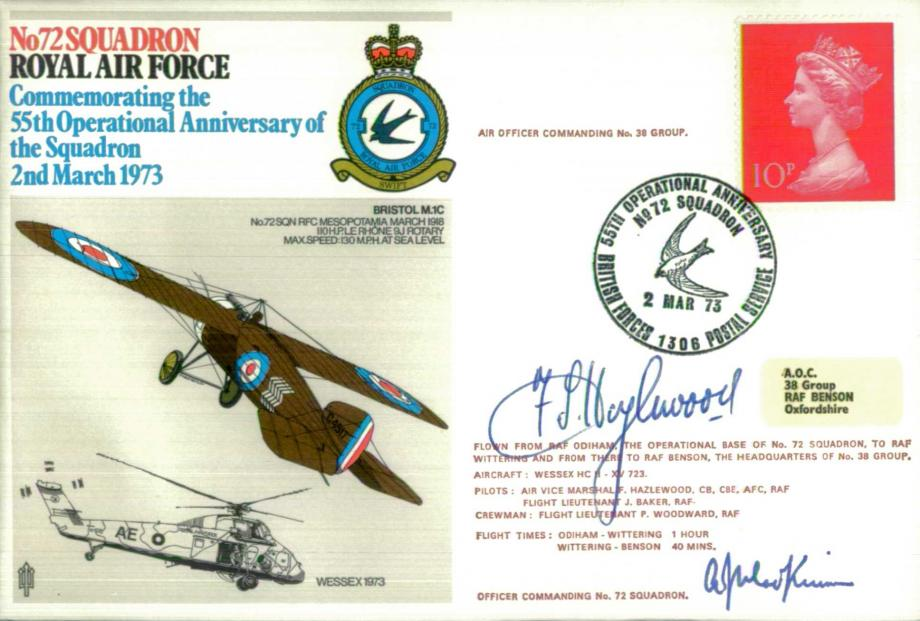 No 72 Squadron cover Signed by AVM F Hazlewood  and WC R J Mackinnon OC 72 Squadron