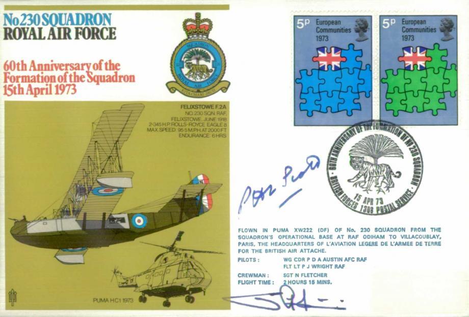 No 230 Squadron cover Signed by AC P Scott and pilot WC P Austin