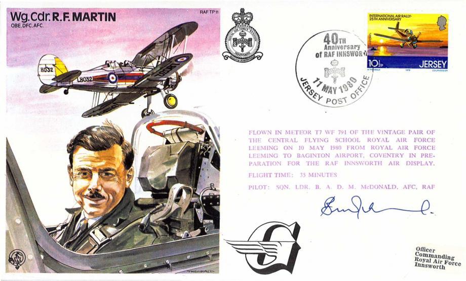 Wg Cdr R F Martin the Test Pilot cover Sgd B A D Mac Donald