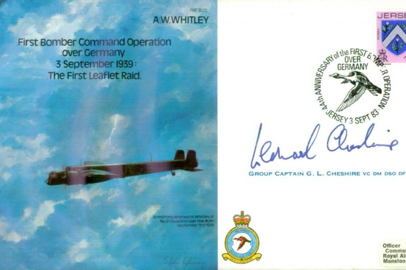 Armstrong Whitworth Whitley cover Signed 8 crew and Cheshire VC