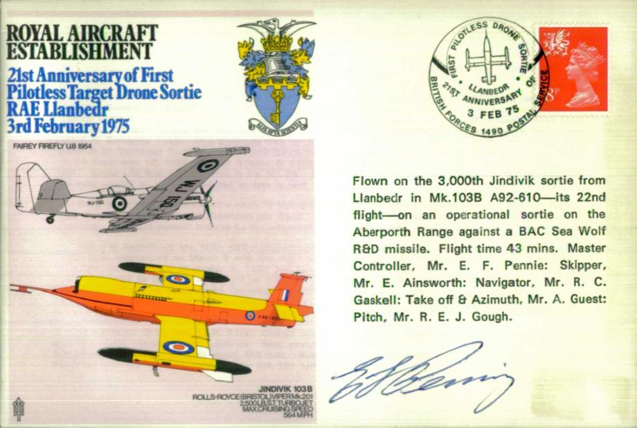 Royal Aircraft Establishment cover Signed by Master Controller E F Pennie