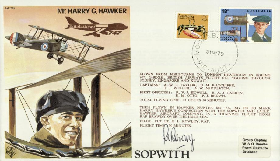 Harry Hawker Test Pilot cover Sgd pilot R L Rowley