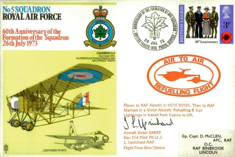 No 5 Squadron cover Signed by 214 Squadron pilot Fl Lt L Uprichard