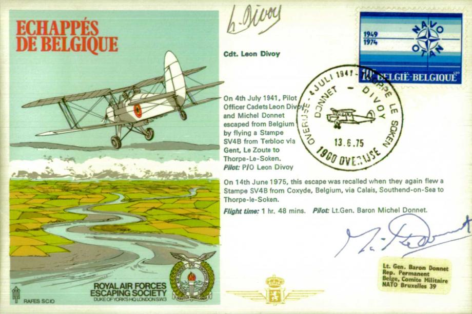 Echappes de Belgique cover Sgd Baron Michel Donnet and Leon Divoy