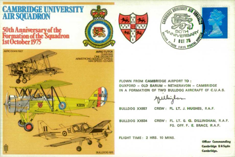 Cambridge University Air Squadron cover Sgd G G Dillingham