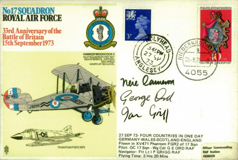 No 17 Squadron cover Signed by the crew pilot WC G E Ord, navigator Fl Lt I P Grigg & AVM N Cameron