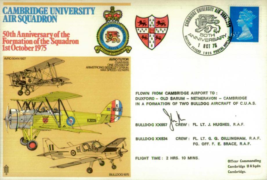 Cambridge University Air Squadron cover Sgd J Hughes