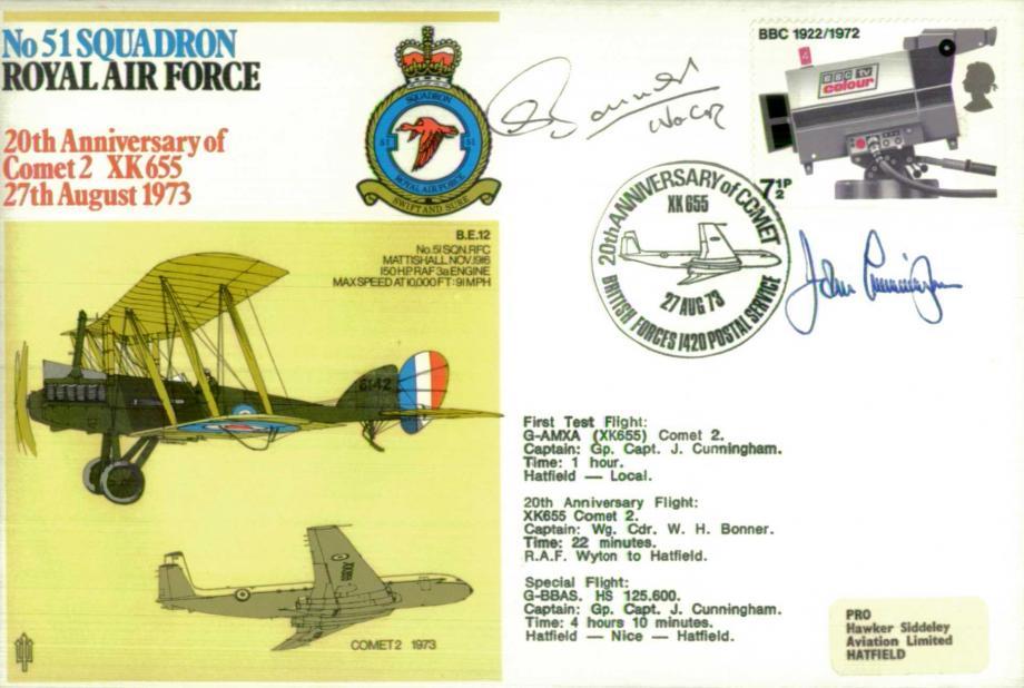 No 51 Squadron cover Sgd by pilot W H Bonner and J Cunningham - Chief Test Pilot for De Havilland