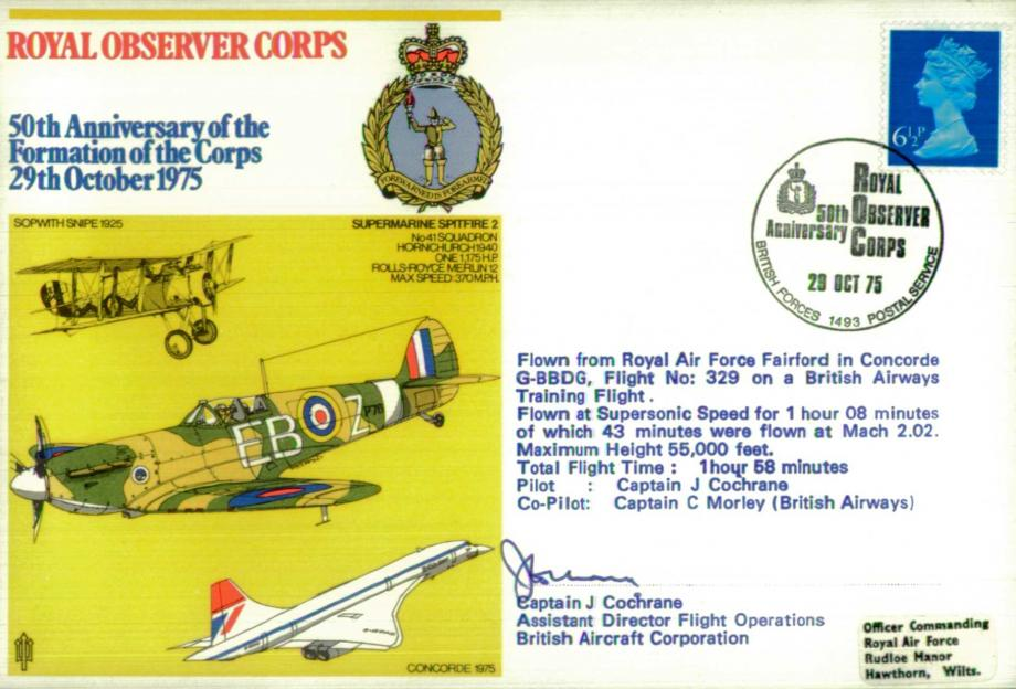 Royal Observer Corps cover Signed by Concorde Captain J Cochrane