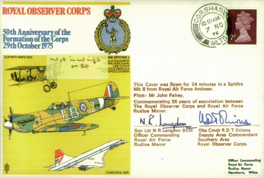 Royal Observer Corps cover Signed by N R Langdon - OC RAF Rudloe Manor 7 Obs Cmdr R D T Onions of ROC