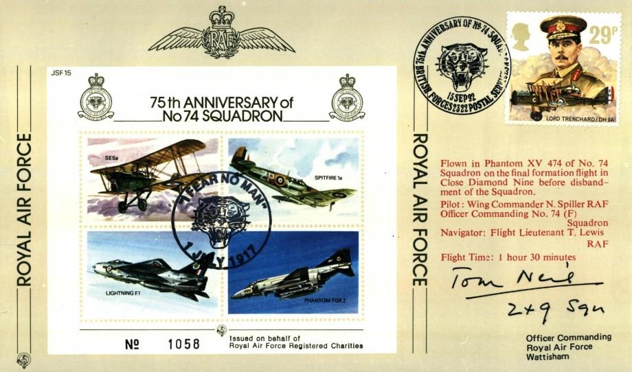 74 Squadron Cover Signed The BoB Pilot Tom Neil Of 249 Squadron