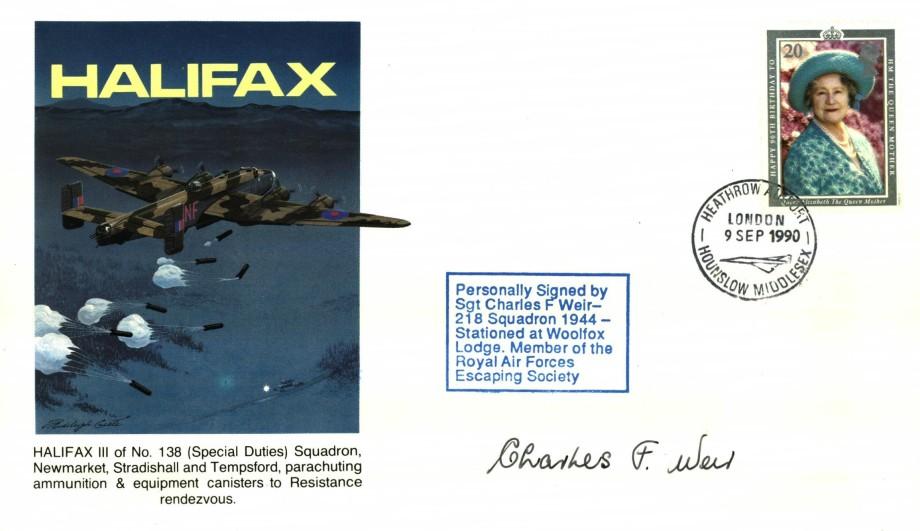Halifax cover Sgd C F Weir of 218 Sq