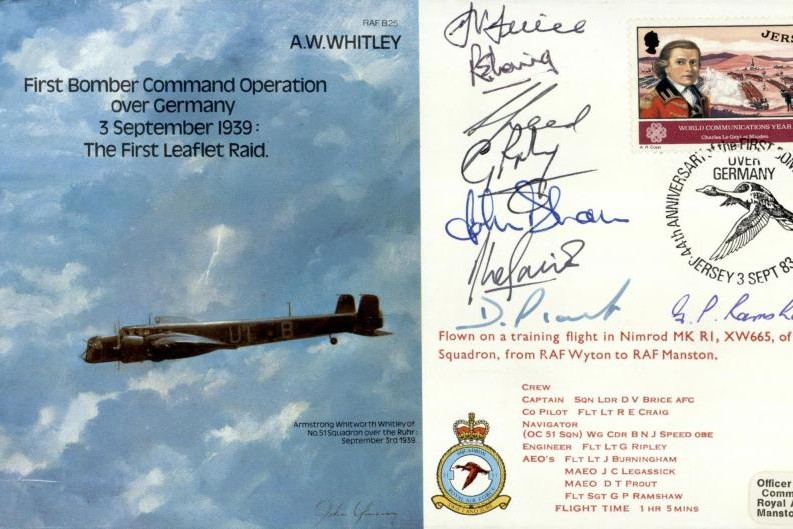 Armstrong Whitworth Whitley cover Signed 8 crew