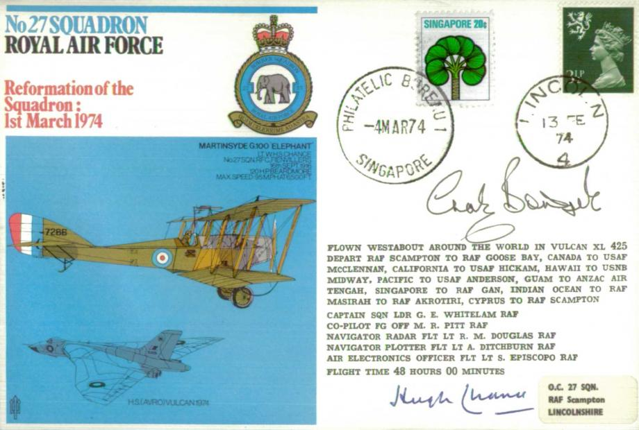 No 27 Squadron cover Sgd by Chaz Bowyer and Sir Hugh Chance who was a Squadron member in 1916