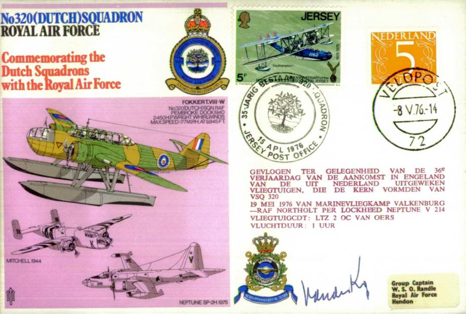 No 320 (Dutch) Squadron cover Signed by Commodore Van Der Kop