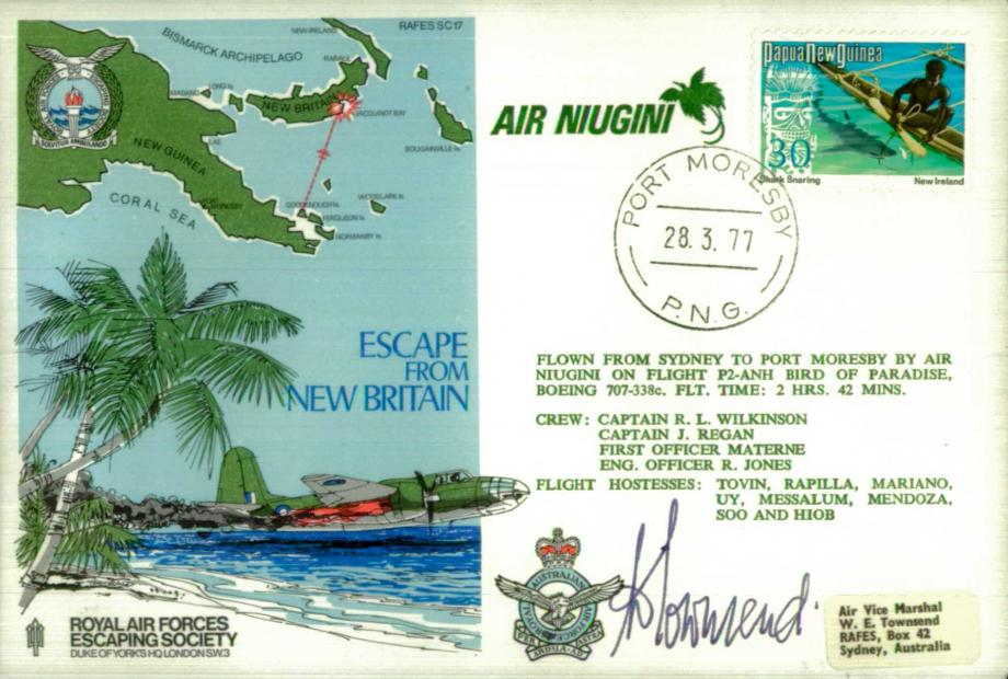 Escape From New Britain cover Sgd AVM Townsend an Escapee from new Britain in 1943