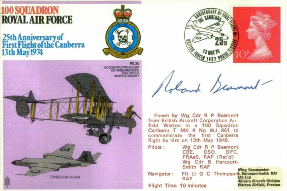 100 Squadron cover Signed by R P Beamont who was the first pilot of the Canberra on 13th May 1949