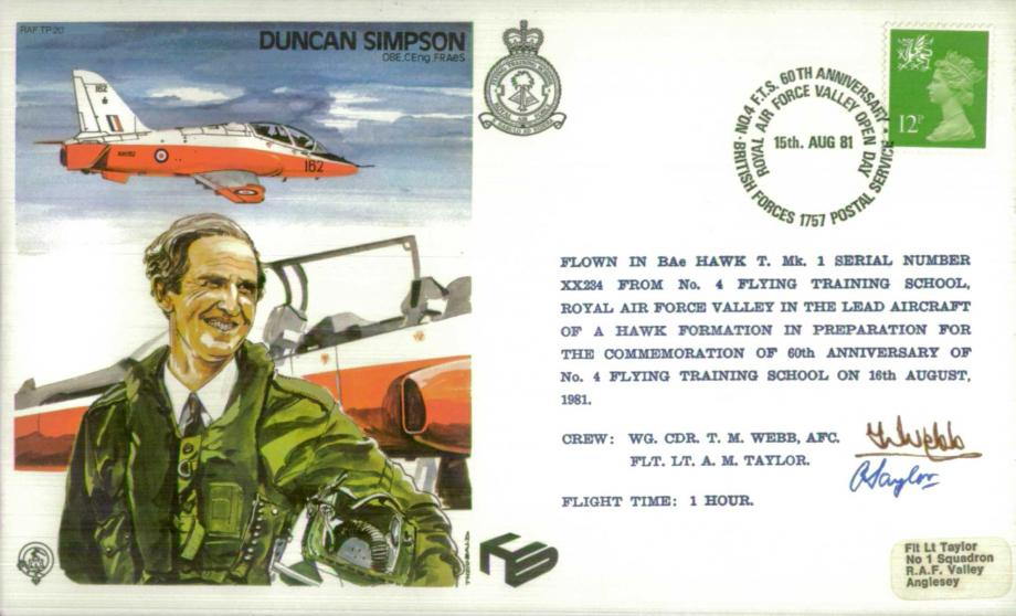 Duncan Simpson the Test Pilot cover Sgd T M Webb and A M Taylor
